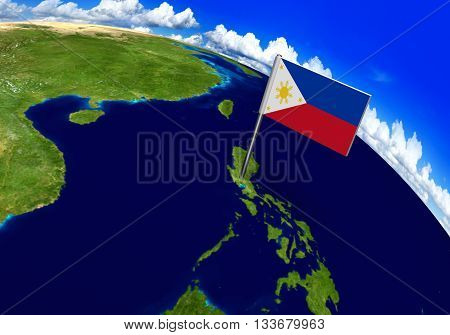 Flag marker over country of Philippines on world map 3D rendering, parts of this image furnished by NASA