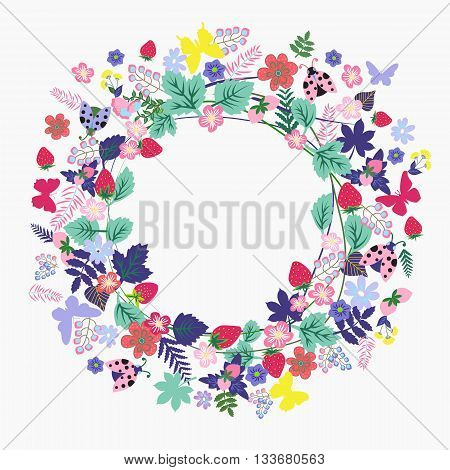 Vector summer Vintage Round frame with flower butterfly ladybug with place for your text - Illustration. Vintage floral romantic design decoration greeting cards posters invitations advertisement.
