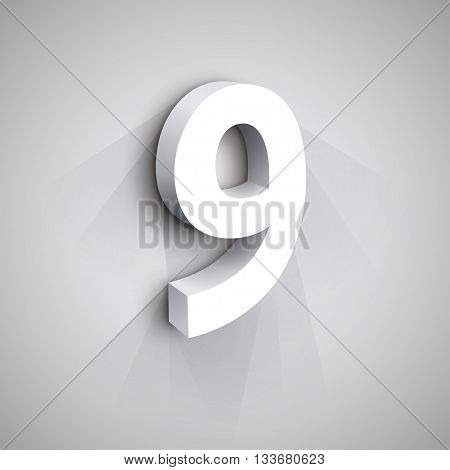 3d Number Nine. White figure 9 on Gray Background