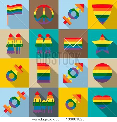 Gay pride icons set in flat style for any design