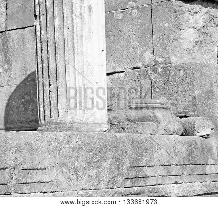 Bush Gate  In  Myra  The      Old Column  Stone  Construction Asia Greece And  Roman Temple