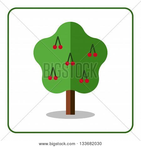 Cherry tree icon. Flat sign with fruit. Trendy beautiful floral element isolated on white background. Green silhouette deciduous tree. Symbol of nature garden. Sprites for game. Vector illustration