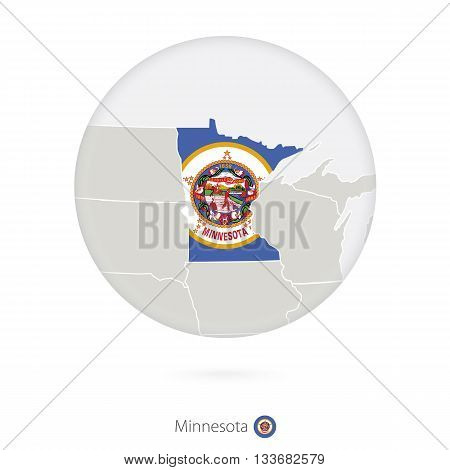 Map Of Minnesota State And Flag In A Circle.