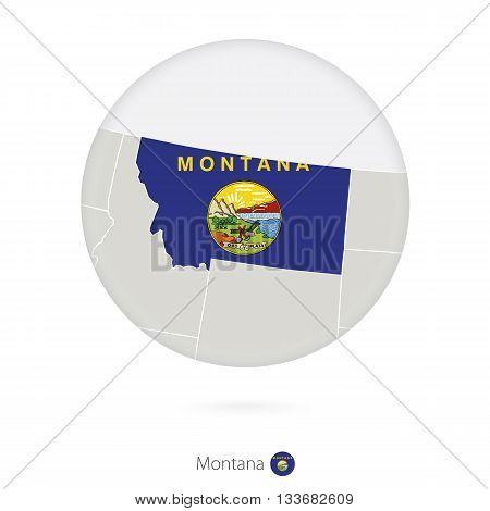 Map Of Montana State And Flag In A Circle.