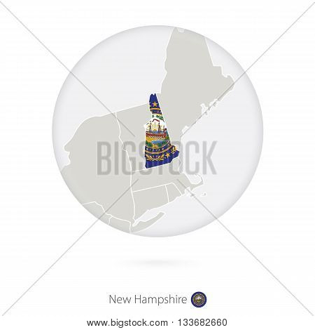 Map Of New Hampshire State And Flag In A Circle.