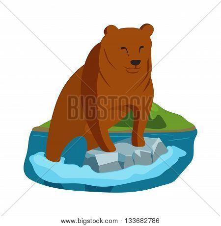 Alaska brown bear sow enjoys meal of salmon base and alaska bear vector illustration. Alaska bear wildlife nature animal. Alaska bear grizzly mammal predator. Dangerous alaska bear.