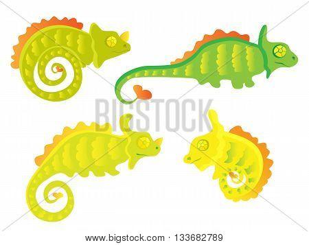 Cute Cartoon Chameleon set. Art vector illustration.