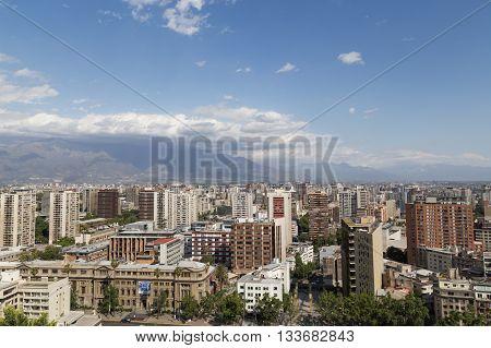 Santiago de Chile, Chile - November 26, 2015: Skyline as seen from the Cerro Santa Lucia.