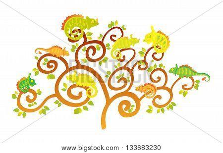 Cute Cartoon Chameleons on tree. Art vector illustration.