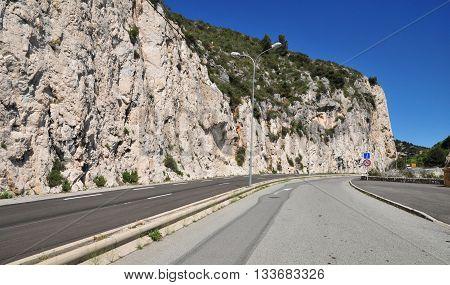 Eze France - april 19 2016 : the cliff road