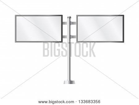 Blank billboards pillar ad and outdoor pillar ad advertisement templates isolated. Vector pillar ad advertising billboard sign and pillar ad poster display. Commercial empty pillar ad.