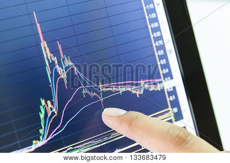 businessman and stock market graph and bar chart price displayBusinessman failure in stock marketin blue style