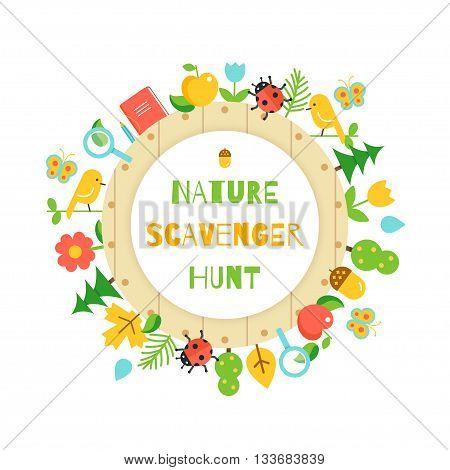 Nature Scavenger Hunt. Kids Game Vector Poster