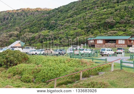 STORMS RIVER MOUTH SOUTH AFRICA - FEBRUARY 29 2016: Early morning at Storms River Mouth Rest Camp. Caravans tents and vehicles are visible