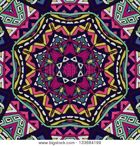 Abstract folk ethnic colorful seamless pattern ornament