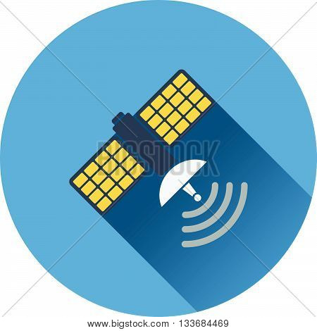 Satellite icon. Flat design in UI colors. Vector illustration.