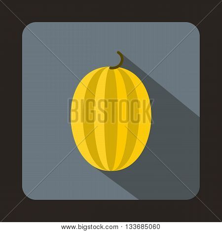 Striped melon icon in flat style on a grey background