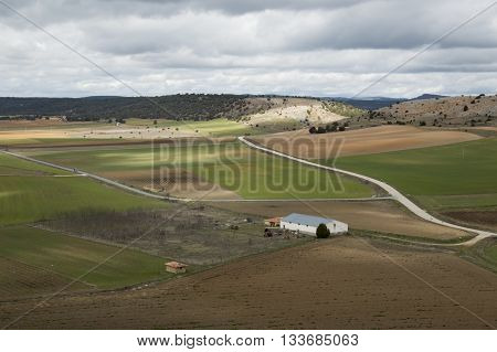 Green fields of Calatañazor in Soria, Castilla leon, Spain