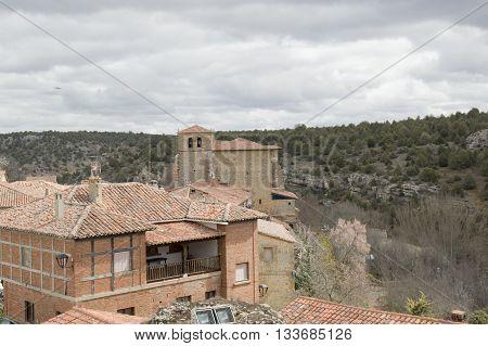 Church and Belltower Calatañazor in Soria, Castilla leon, Spain
