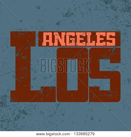 T shirt typography graphics Los Angeles California. Athletic style LA. Fashion stylish print emblem for sports wear. Template for apparel card poster. Symbol of american big city Vector illustration