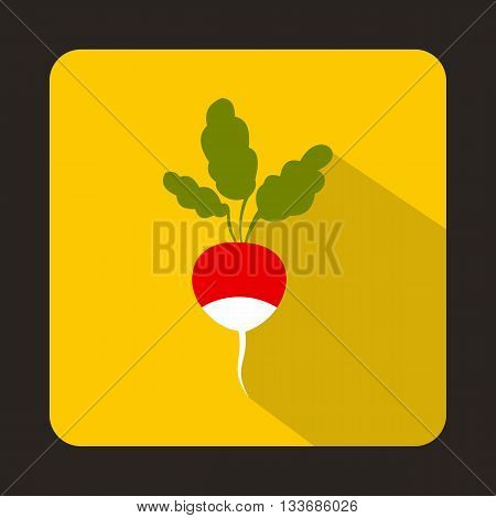 Fresh radish with leaves icon in flat style on a yellow background