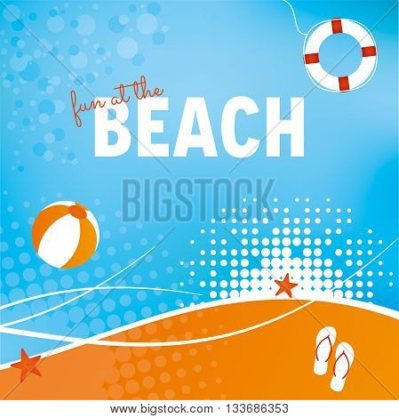 Abstract beach background with Ball flip flops and lifering