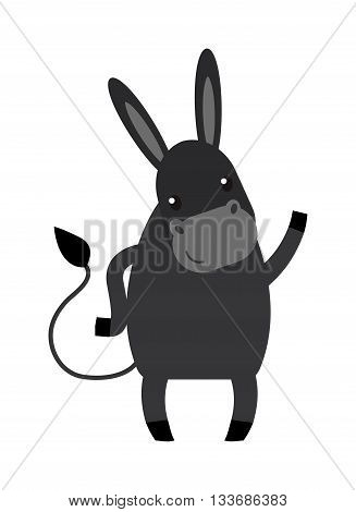 Cartoon happy donkey and cute smile horse cartoon donkey. Cartoon donkey farm domestic mammal. Farm animal mule cartoon donkey. Funny cartoon gray donkey farm animal character vector.