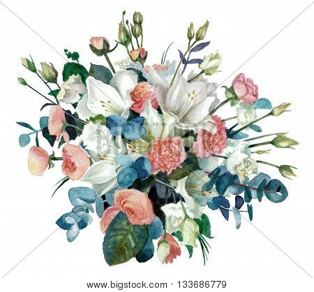 Bouquet of flowers with amaryllis, buttercups and eustoma cut out from the background. Watercolor painting. Pastel color