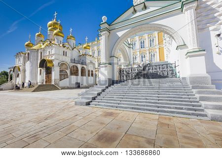 MOSCOW - JUNE 04: View of Famous The Annunciation Cathedral in Moscow Kremlin Russia on June 04 2016