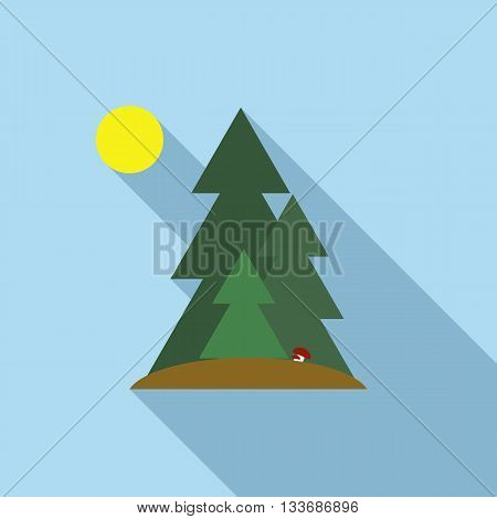 Fir trees icon in flat style on a light blue background