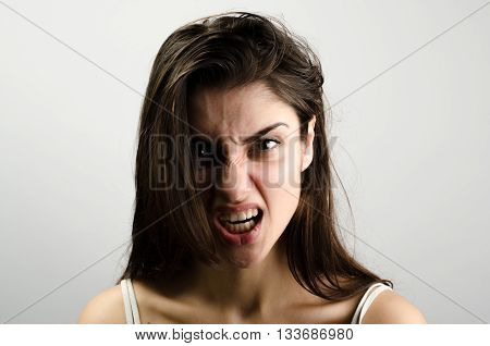 Closeup Pose Of An Angry Woman