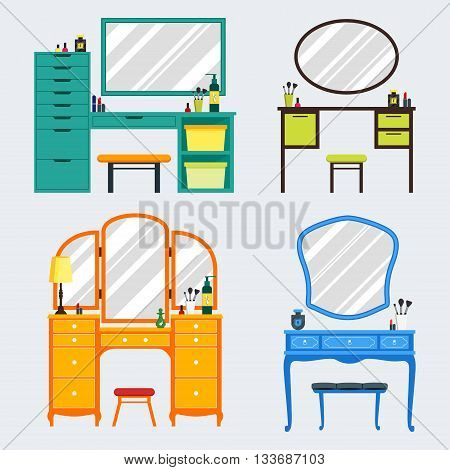 Cute colorful set of flat dressing tables with girl's things mirror perfume lipstick cosmetic. Isolated interior objects for dressing woman room. Furniture for feminine boudoir vector illustration