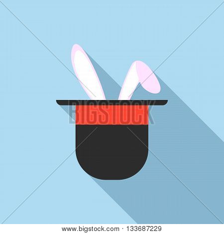Rabbit ears appearing from a top magic hat icon in flat style on a light blue background