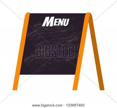 Wooden menu board isolated on white and store black board menu frame. Chalkboard cafe menu board and design vintage lunch wooden menu board. Retro blackboard business breakfast menu.
