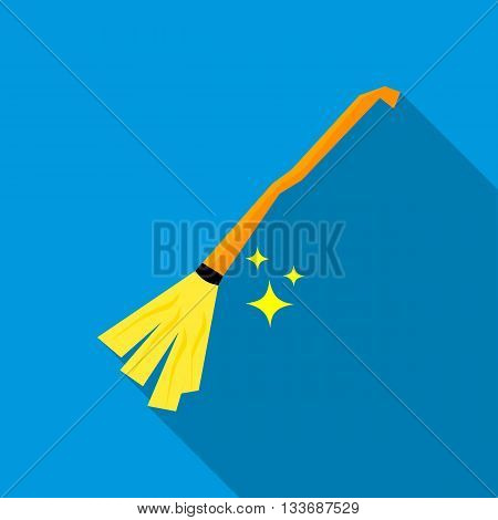 Witches broom icon in flat style on a blue background