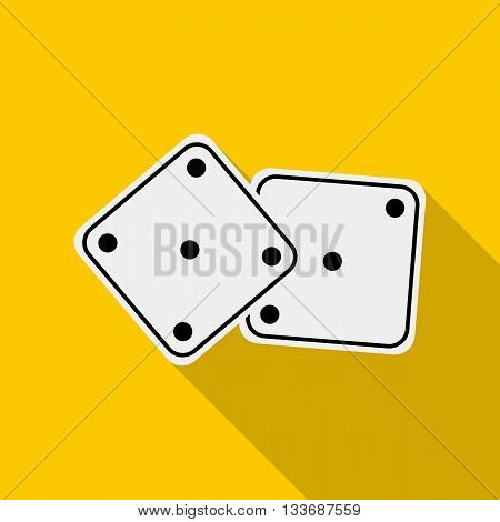 White dices icon in flat style on a yellow background