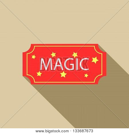 Red magic show ticket icon in flat style on a beige background
