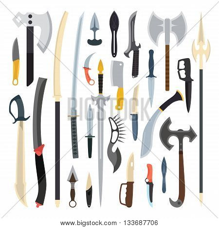 Knifes weapon collection. Vector illustration of swords, knifes, axe, spear. Edged weapons vector weapon set. Combat knifes andbonder knives, bayonet knife, swat knifes. Cold steel arms.