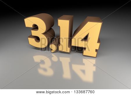Pi number (314) 3d image with reflection. 3D rendering.
