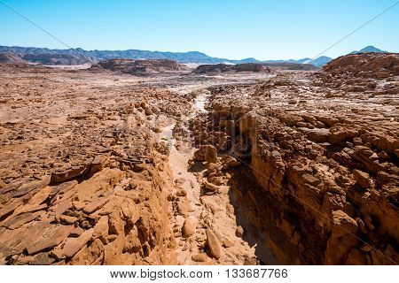 Egypt Sinai desert view Rocky hills Blue sky