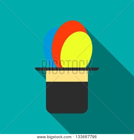 Balloons appearing from magic hat icon in flat style on a turquoise background