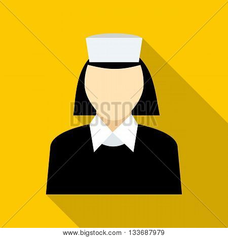 Maid icon in flat style on a yellow background