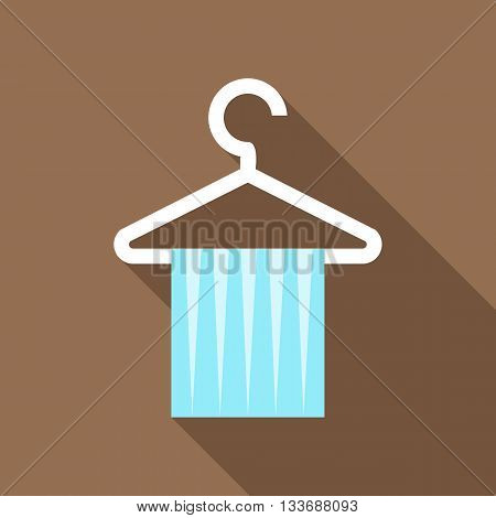 Blue scarf on coat hanger icon in flat style on a brown background