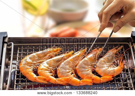 Grilled Shrimp Or Easy Bbq Grilled Shrimp On Electric Grill.,  Closeup - Frozen Shrimp, Fresh Shrimp
