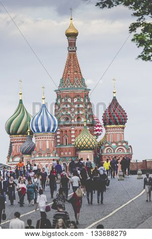 Moscow - June 02: View Of Saint Basils Cathedral At The Red Square On June 02, 2016, Moscow, Russia.
