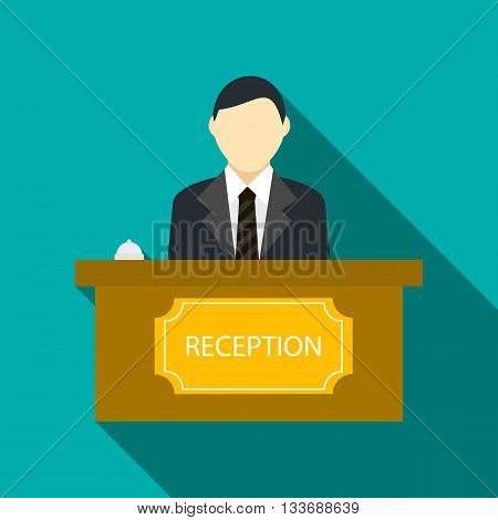 Male receptionist at hotel reception icon in flat style on a turquoise background