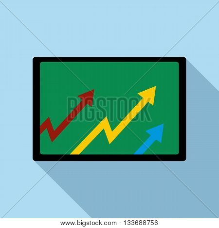 Computer monitor with with growing arrows icon in flat style on a light blue background