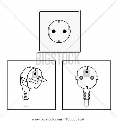 Vector. Euro socket and plug. Icon. Two pin socket isolated illustration.