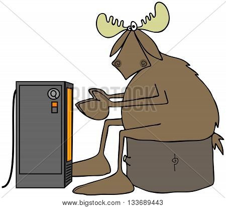Cold moose warming by an electric heater