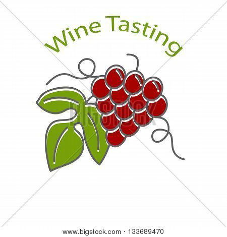 Wine tasting flyer poster with grapes isolated on a white background. Flat and line style design. Green and red vector illustration.